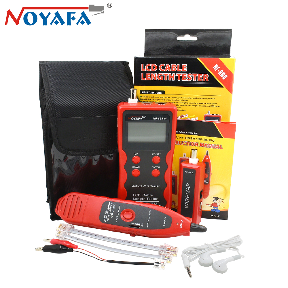 NOYAFA NF-868 RJ11 RJ45 Telephone Wire Tracker Networking Tools Diagnose Tone BNC USB Metal Line LAN Network Cable Length Tester noyafa rj45 rj11 crimper lan network cable amplifier tone generator kit wire sniffer lan tester cable tracker for bnc telephone