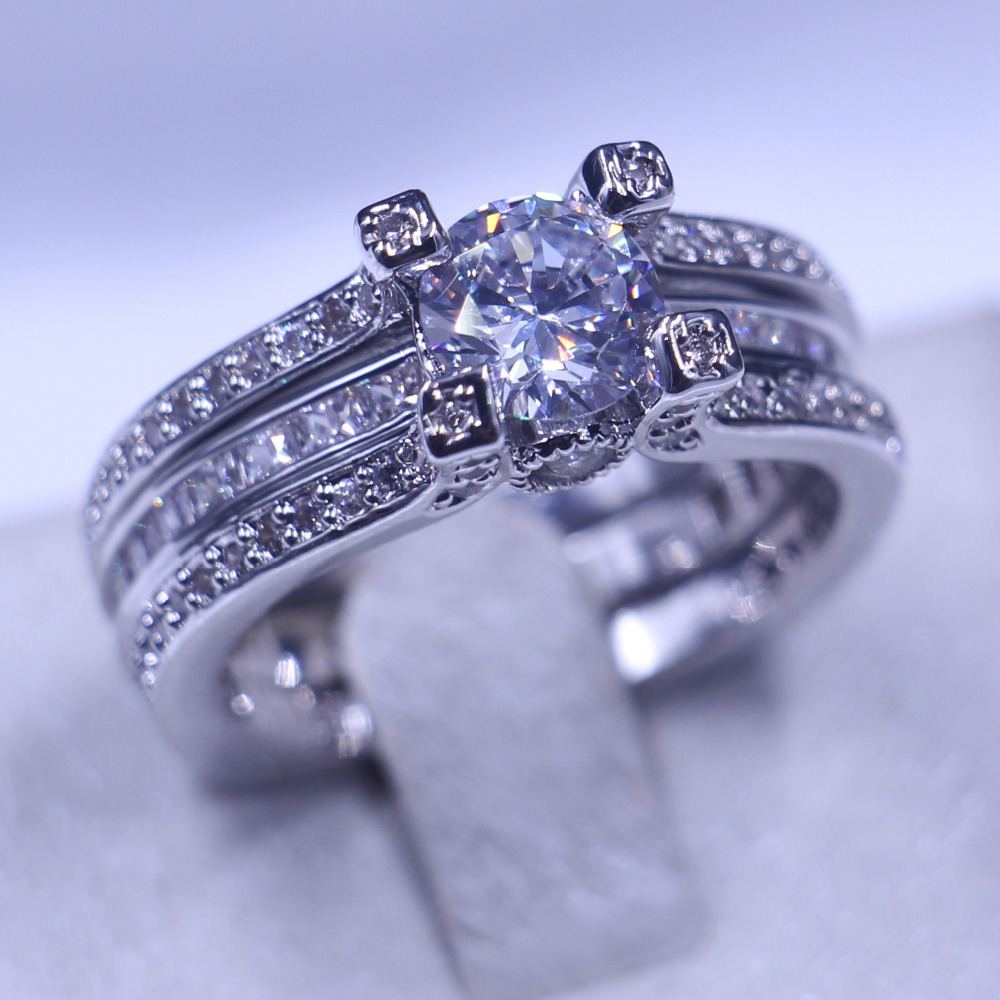 Brand Jewelry Wedding Band Rings For Women Men Diamonique 5a Zircon Cz 925  Sterling Silver Birthstone
