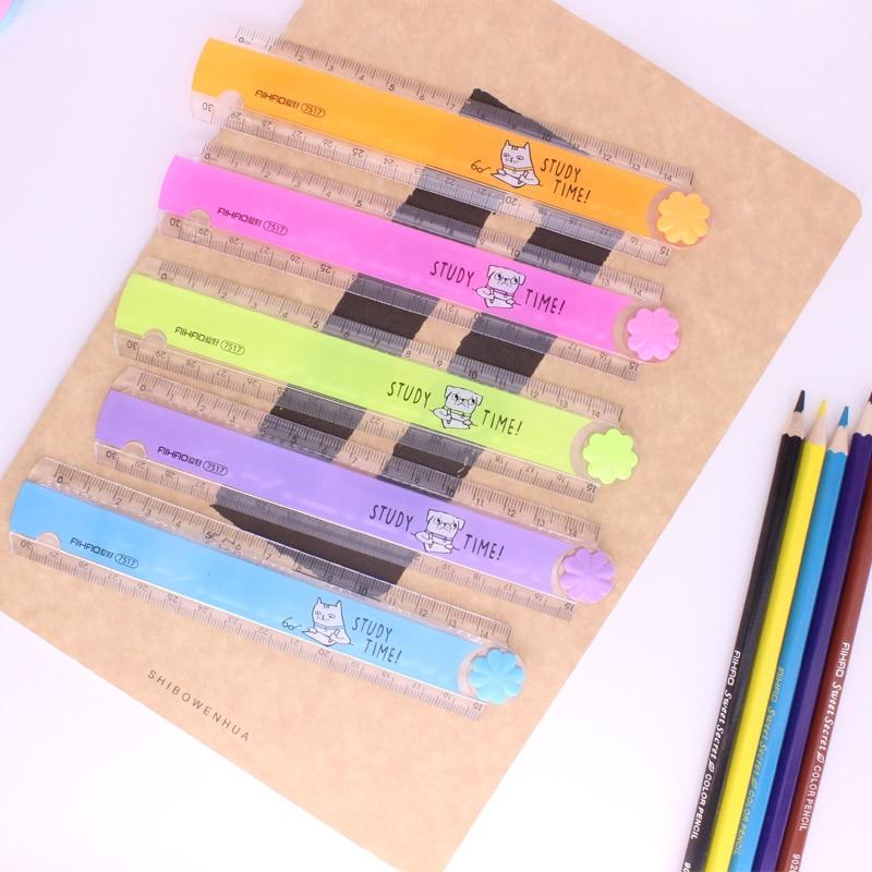 лучшая цена 30cm Kawaii Cartoon Candy Color Plastic Folding Stencil Ruler For Kids Drawing Gift Office School Supplies Rulers Stationery