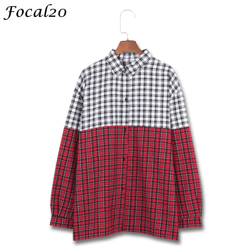 Focal20 Streetwear Hit Color Plaid Women Blouse Shirt Spring Long Sleeve Stiching Color Hip Hop Oversize Female Blouse Top Blouses & Shirts