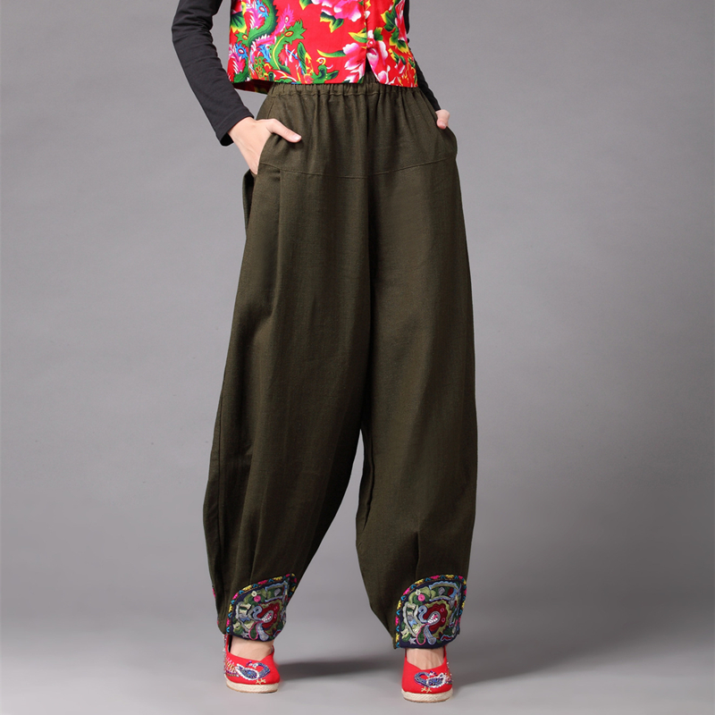 368cbbb83bc1f LZJN 2019 Summer Autumn Linen Pant for Women Wide Leg Bloomers Embroidery  Hem Ethnic Long Trousers 4 Colors Flax Baggy Pants