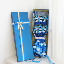 New Cute Stitch Plush Toys Anime Lilo Soft Stuffed Dolls Artificial Rose Flower With Box