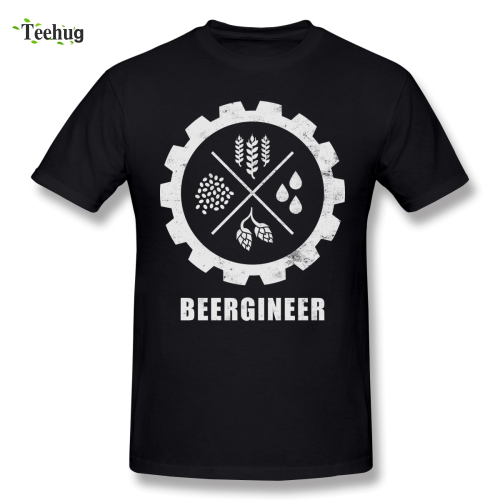 Funny Beergineer Gear T-Shirt T-shirt For Male New Arrival Streetwear Man Pure Cotton Top Tees