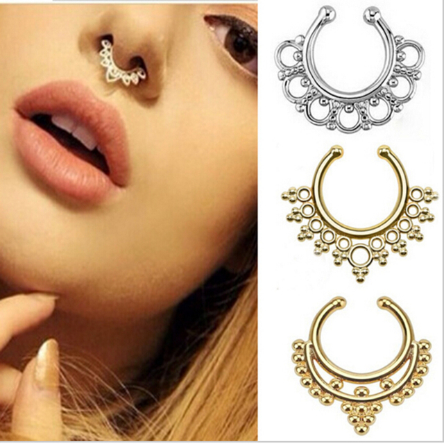 5cd1ce364 New Fashion Clip On Fake Septum Clicker Popular Nose Ring Hoop Shape Bead  Non Piercing Nose