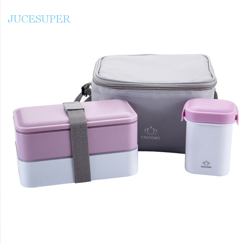 Japanese Double Portable Picnic Lunchbox Microwave Heating Lunch Box Fashion Handbag With Chopstick Spoon Plate Flatware
