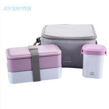Japanischen Doppel Portable Picknick Lunchbox Mikrowelle Heizung Lunchbox Mode Handtasche Mit Essstäbchen Löffel Teller Besteck Set