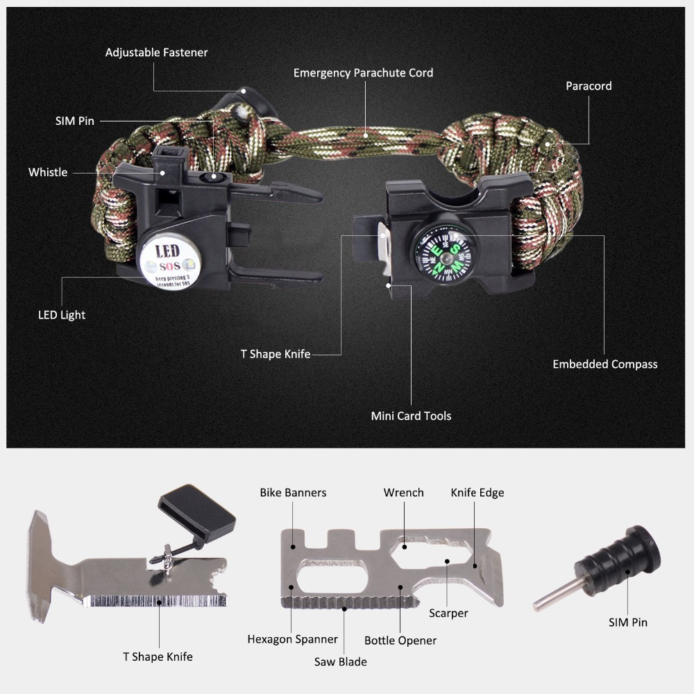 Survival paracord outdoor multi tool