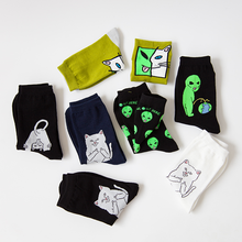 Unisex Cartoon Cat Art Funny Alien Planet Socks RK