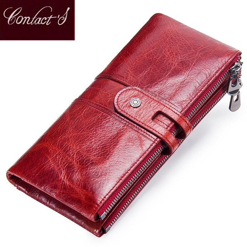 Kontaktieren der Frauen Geldbörsen Lange Zipper Echtem Leder Damen Handtasche Taschen Mit Handy Halter Hohe Qualität Karte Halter Brieftasche