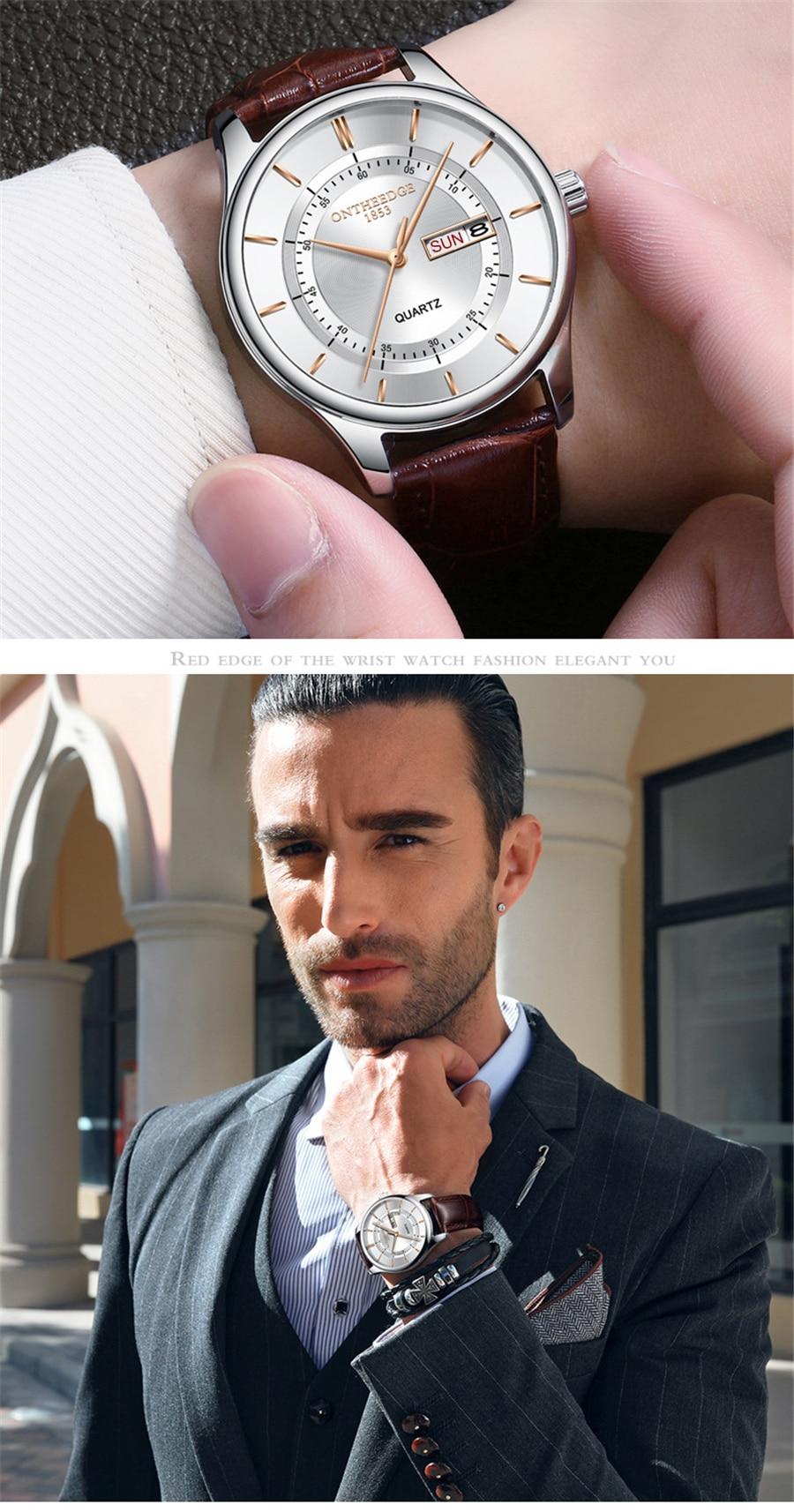 HTB1VAI.iFGWBuNjy0Fbq6z4sXXaD High Quality Rose Gold Dial Watch Men Leather Waterproof 30M Watches Business Fashion Japan Quartz Movement Auto Date Male Clock