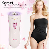 Kemei beauty tools rechargeable lady women epilator hair removal tool razor body care cutting tools lightweight and portable
