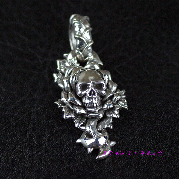 Thailand, Silver Skull Rose Flowers Of Evil Thai Silver Pendant opium the flowers of evil