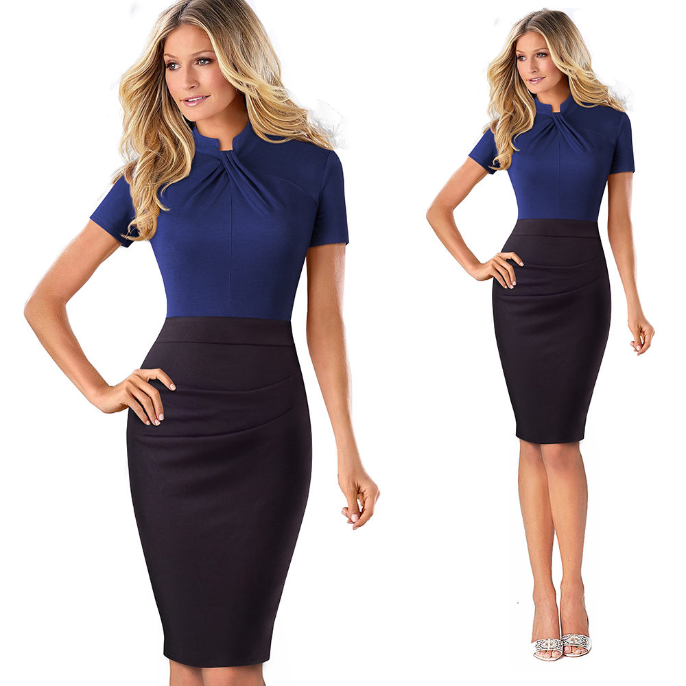 Elegant Work Office Business Drapped Contrasting Bodycon Slim Pencil Lady Dress Women Sexy Front Key Hole Summer Dress EB430 10