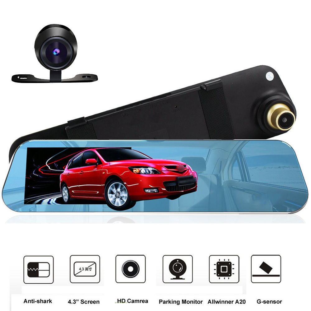 car dvr with two cameras 4 3 inch rear view camera full hd 1080p car camera rearview mirror. Black Bedroom Furniture Sets. Home Design Ideas
