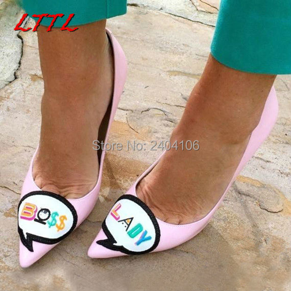 LTTL Sapato Feminino Black Pink Patent Leather High Heels Pointy Stiletto Pumps BOSS LADY Colored Embroidery Sweet Wedding Shoes
