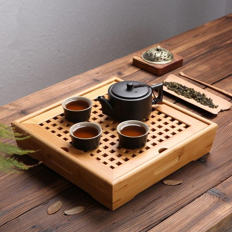 Plateau de thé en bambou naturel chinois Kung Fu thé cérémonie Table fait à la main thé ensembles théière artisanat plateau environnement