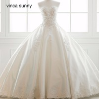 Vinca Sunny 2018 Princess Simple Chapel Train Bridal Gowns Corset Lace Applique Satin Wedding Dress Vestido