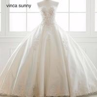 Vinca Sunny 2018 Princess Simple Chapel Train Bridal Gowns Corset Lace Applique Satin Wedding Dress Vestido