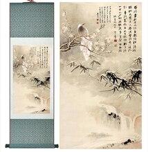 Winter malerei Traditionelle silk kunst malerei Vogel auf dem baum Chinesische Kunst Malerei Home Office Dekoration Chinesische malerei