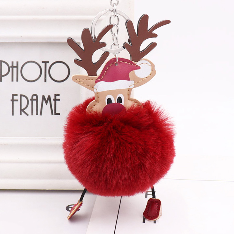 1 Pcs Keychain Plush Ball Pendant Christmas Deer Hanging Decoration For Handbag Cx17 Promoting Health And Curing Diseases