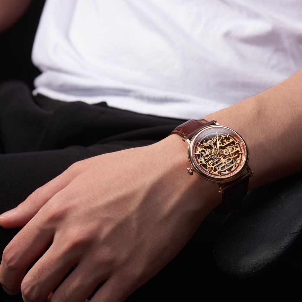 Reef Tijger/Rt Mens Mechanisch Skeleton Horloge Met Rose Goud Lederen Band Vintage Horloges RGA1917