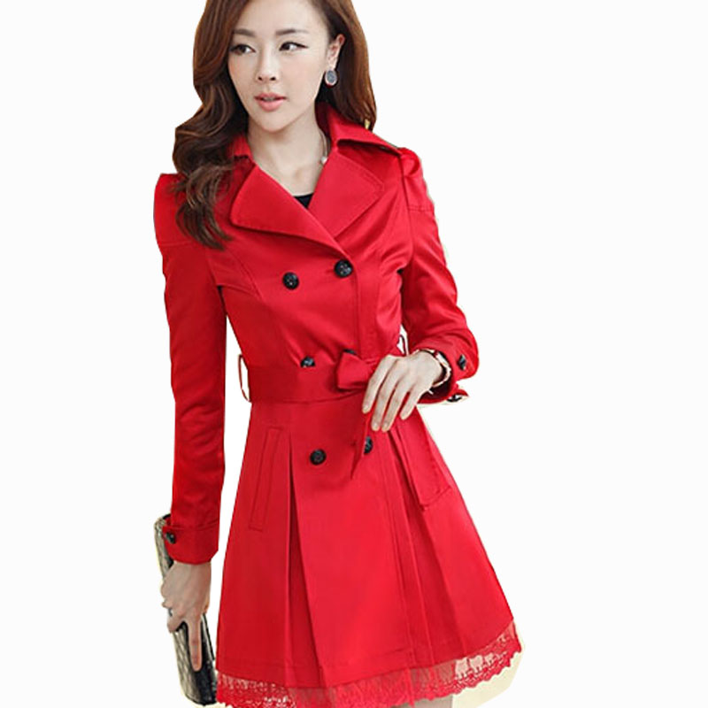 women trench coat autumn slim long 2015 plus size red trench coat long women trench cotton lace. Black Bedroom Furniture Sets. Home Design Ideas
