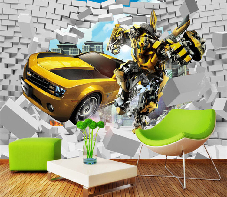 3d Retro Creative Car Broken Wall Paper Transformers