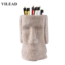 VILEAD SandStone Easter Island Moai Figurines Pen Holder Miniatures Day Decoration Pukao Statuettes Vintage Home Decor