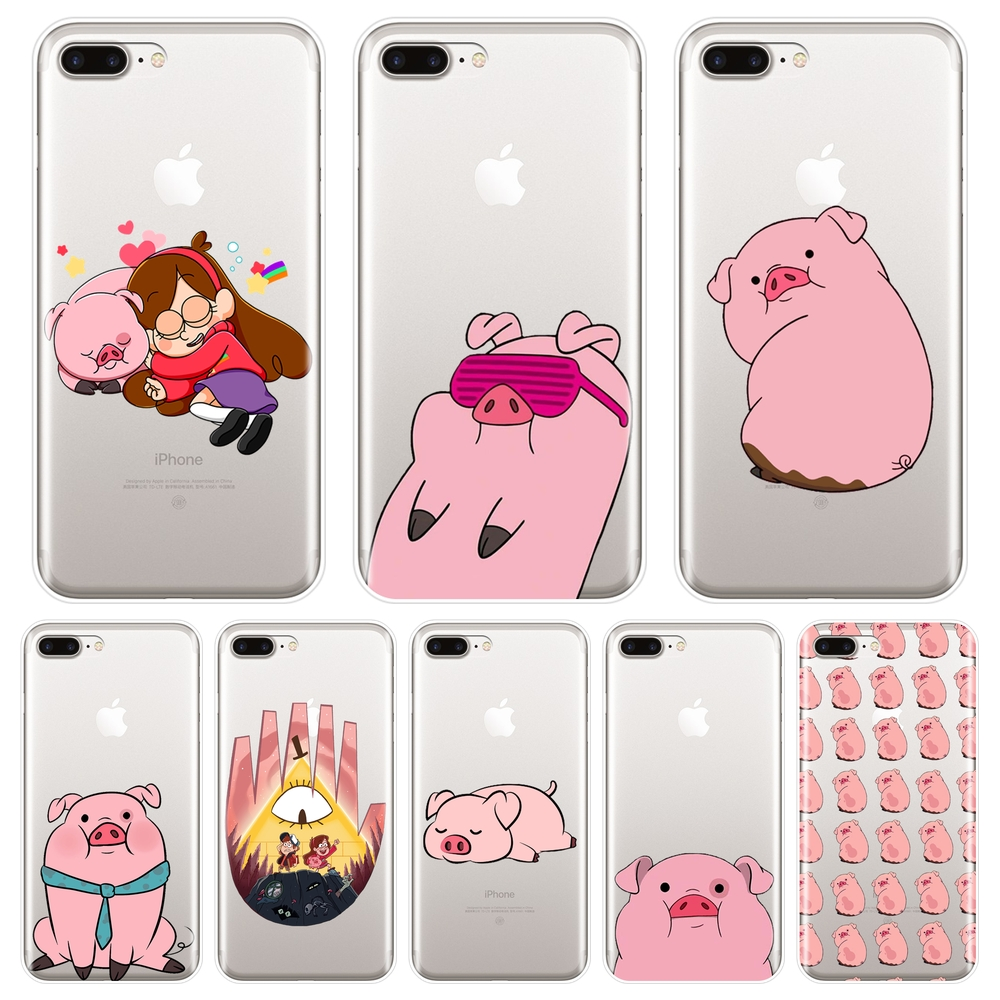 <font><b>Phone</b></font> <font><b>Case</b></font> For Apple <font><b>iPhone</b></font> X XR XS MAX 8 <font><b>7</b></font> 6S 6 S Gravity Falls Pink Pig Silicone Soft Back Cover For <font><b>iPhone</b></font> 8 <font><b>7</b></font> 6S 6 S Plus image