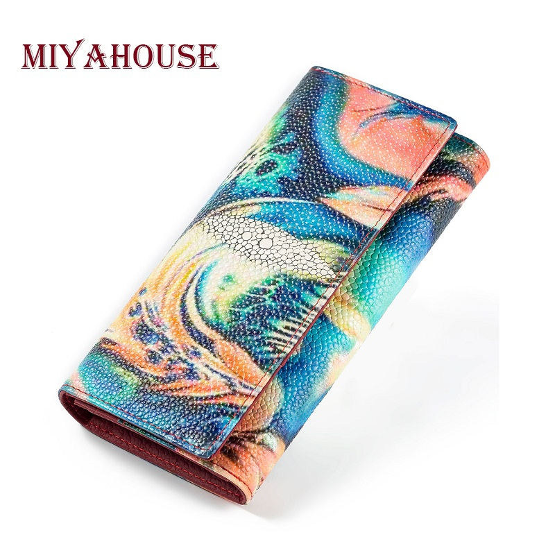 Miyahouse Colorful Printed Leather Wallet Women Long Design Lady Clutches Genuine Leather Crocodile Card Holder Purse Female