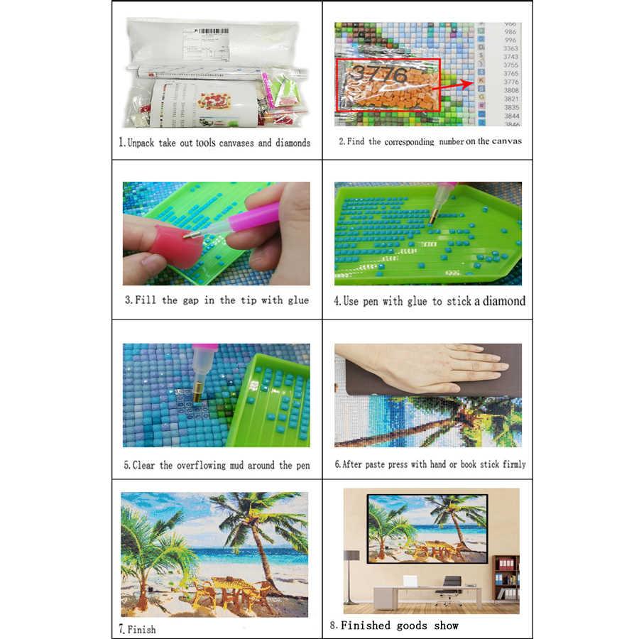 DIY Diamond Lukisan Gambar Kartun Gadis dan Ikan 5D Diamond Bordir Ikon 3D Persegi Bulat Cross Stitch Dekorasi Rumah Hadiah