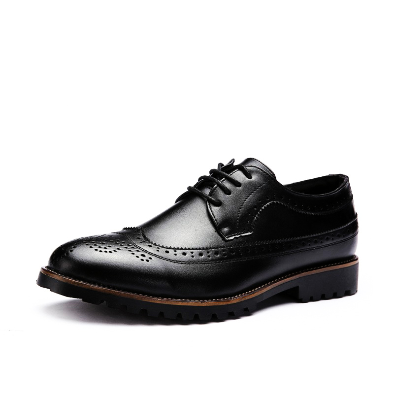 Men Oxfords Shoes Leather Classic Business Fashion Brogue Shoes Flats For Mens Dress Shoes Causal Breathable Zapatos Hombre