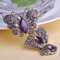 Luxury Brand Stars Purple Brooch Shiny Brand Austrian Crystal Brooches And Pins Accessories Cute Butterfly Broach Bijoux Unhas