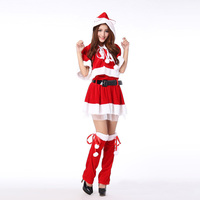New Christmas Costumes Women Adult Female Cos Christmas Party Club Cloak Sets Sweet Miss Santa Cosplay