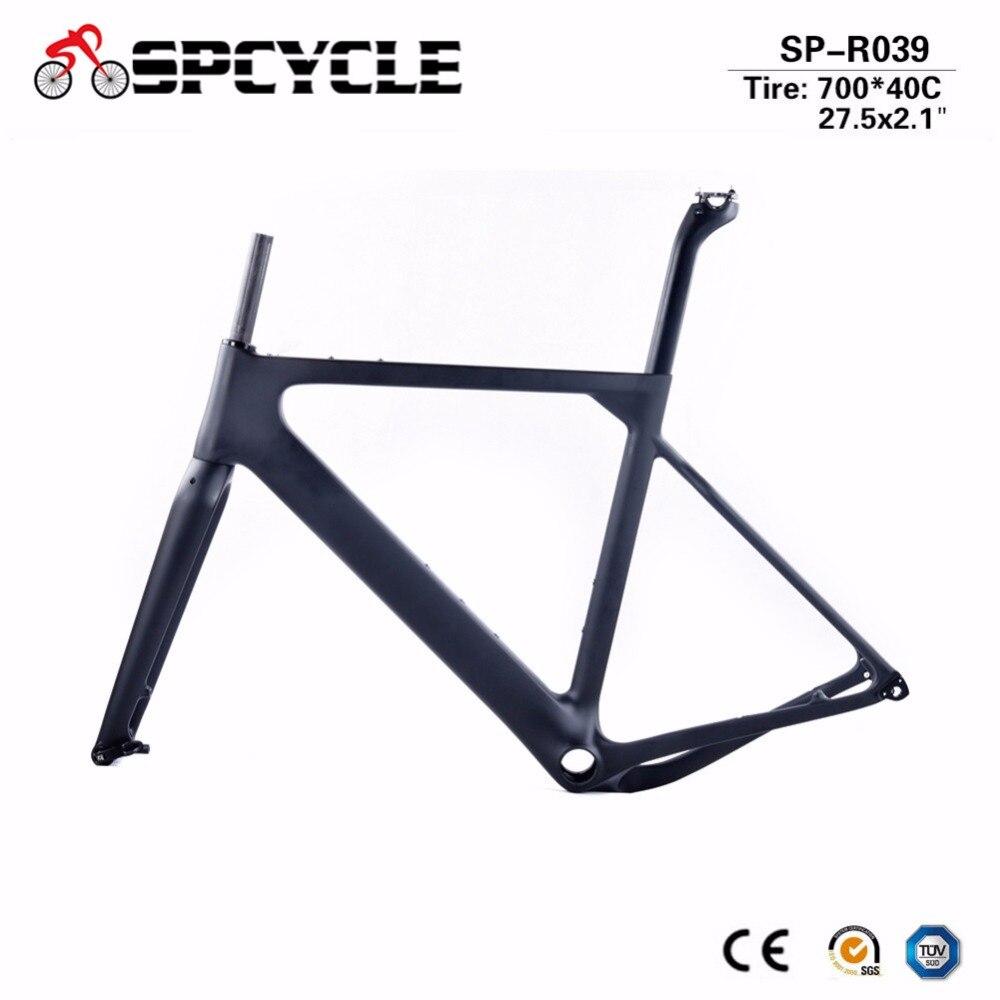 Spcycle Gravel Carbon Bicycle Frames, Cyclocross Gravel Bike Frames, Road MTB Disc Bike Frames 700*40C Or 27.5er*2.1