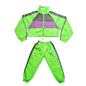Image 5 - Dla dzieci taniec Hip Hop nosić dziewczyny Jazz nowoczesny taniec kostiumy fluorescencji odzież garnitury dla dzieci kostiumy sceniczne stroje DQS2135