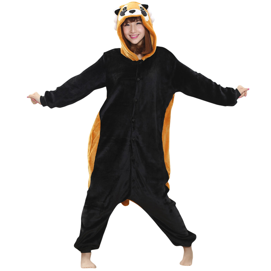Animal Costume Raccoon Flano Onesies For Adult Women Men's Pajamas Halloween Christmas Party Cosplay Costumes