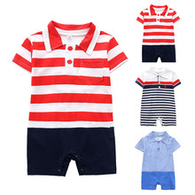Newborn Baby Romper Children Clothes  Boy Girls Cartoon Striped print Infant Rompers Jumpsuit Outfits Clothes   HOOLER