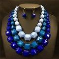 Многослойная акриловые ожерелье серьги мода женщин ну вечеринку ювелирных изделий