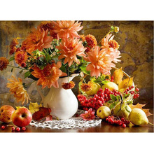 5D Diy Diamond painting flower apple  vase round diamond Cross Stitch Hobbies and Crafts Embroidery mosaic floral