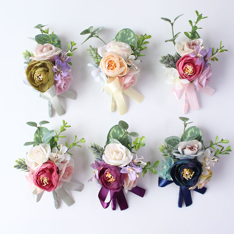 wedding groom boutonniere corsage pin brooch silk flowers  (1)