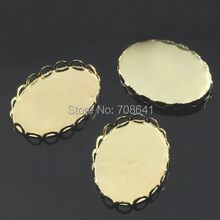 Blank Oval Lace Bezel Trays Pad Bases Settings Resin Cabochon Findings for Floating Charm Lockets Making Golden tone Plated(China)