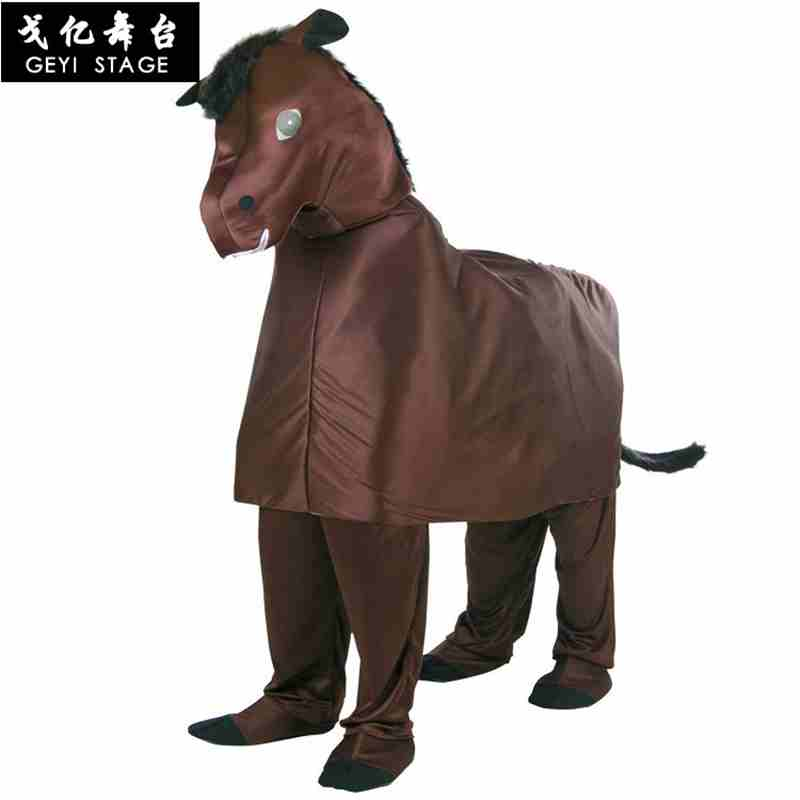 Garçon filles dessin animé Animal cheval Cosplay Costume enfants combinaisons vêtements carnaval Costumes fête fantaisie robe fournitures pour adulte