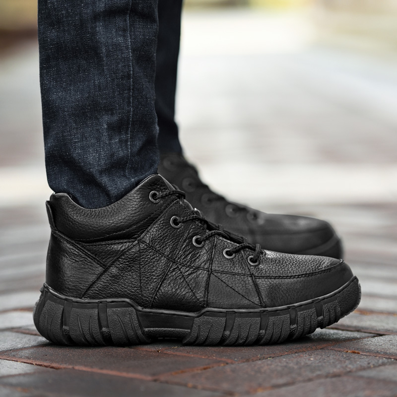 klywoo супер теплый мужские зимние сапоги мех животных плюшевые пояса из натуральной кожи мужские ботинки зимние ботинки на платформе водонепроницаемые полусапожки для мужская обувь