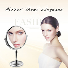 Magnification Circular Makeup Mirror Dual 2 Sided Round Shape Rotating Cosmetic Stand Magnifier Standing