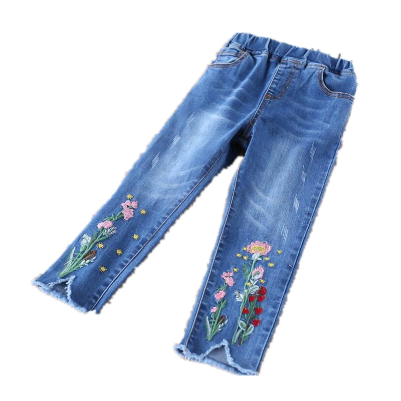 42f4afc70 Y32072742 2018 Autumn Baby Pants For Girl Jeans Embroidery Flower Tassel  Toddler Girl Pants Denim Fashion Girls Clothes Lolita