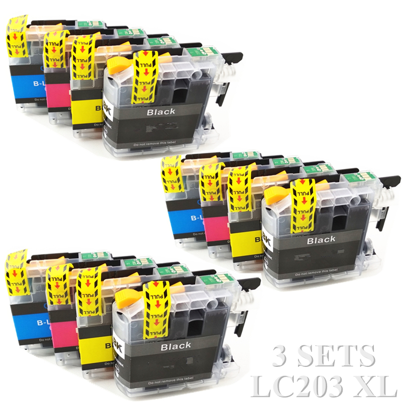 12X Compatible Ink cartridge For Brother LC203 LC 203 For Brother MFC J885DW J460DW J480DW J485DW