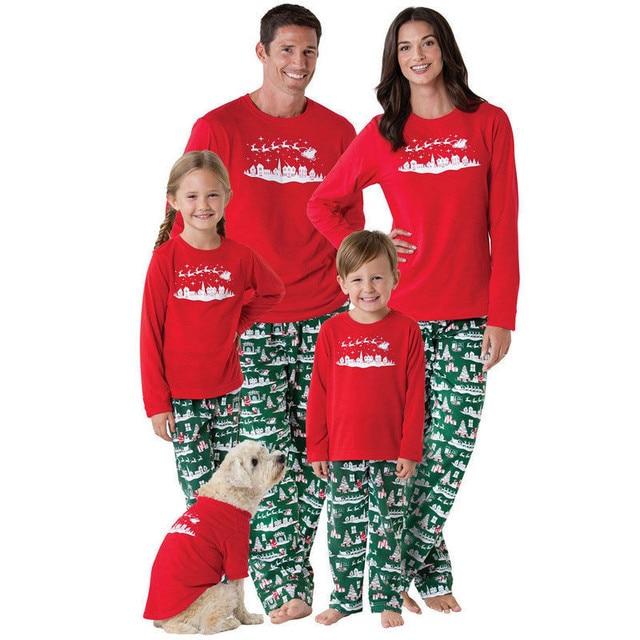 aeca34d74b 2018 Family Matching Christmas Pajamas Set Dad Mom Women Baby Kids Santa  Deer Sleepwear Nightwear Outfit