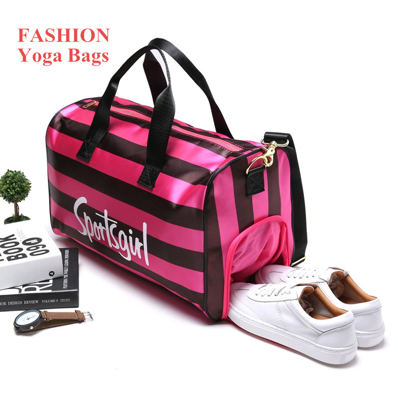 Red Stripe Gym Bag Large Capacity Waterproof Lady Outdoor Travel Gymnastic Training Sports Bag for Women Fitness <font><b>Yoga</b></font> Mat Bag
