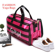 Red Stripe Gym Bag Large Capacity Waterproof Lady Outdoor Travel Gymnastic Training Sports Bag for Women Fitness Yoga Mat Bag